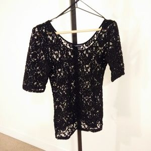 Black Lace Banana Republic Top